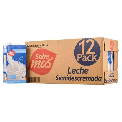 12 Pack Leche Sabemas Uht Semidescrem - 1Lt