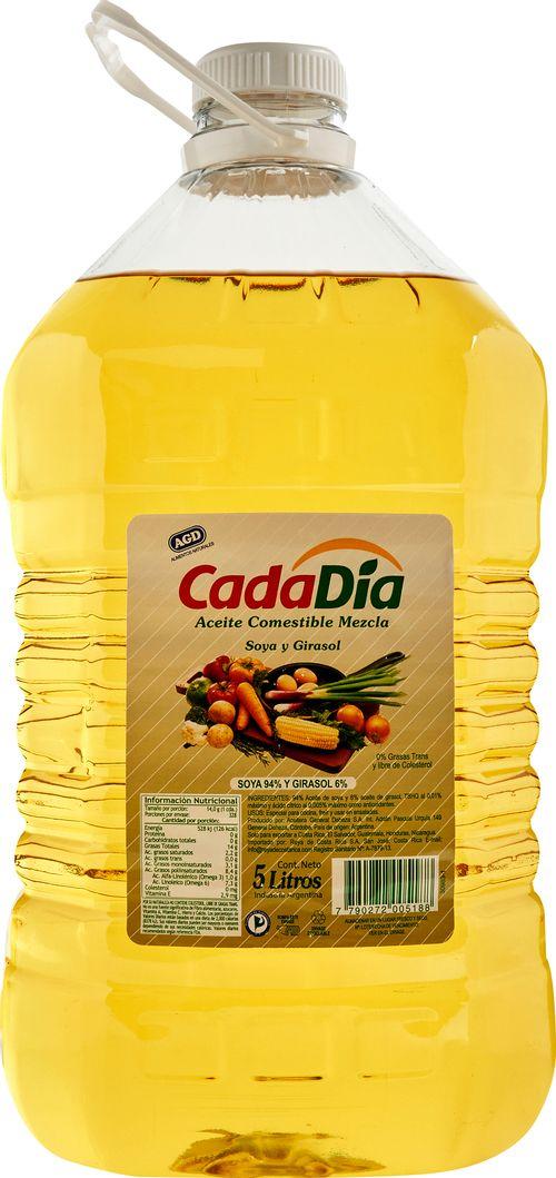 Aceite Cada Dia Soya Y Girasol - 5000ml