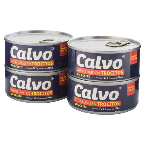 4 Pack Atun Calvo Trocitos - 142gr