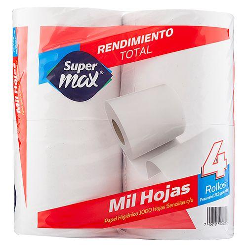 Papel Higienico Supermax 1000 Hojas - 4 Rollos