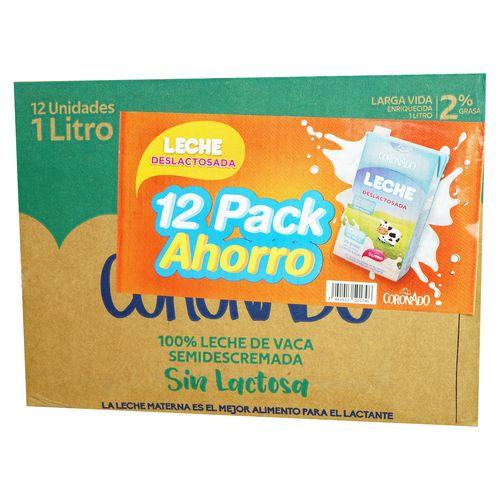 12 Pack Leche Coronado Uht Deslactosada 2% Grasa- 12000Ml