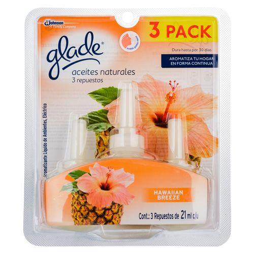 Aceites Naturales Repuesto  Glade X3 Hawaiian Breeze - 21Ml